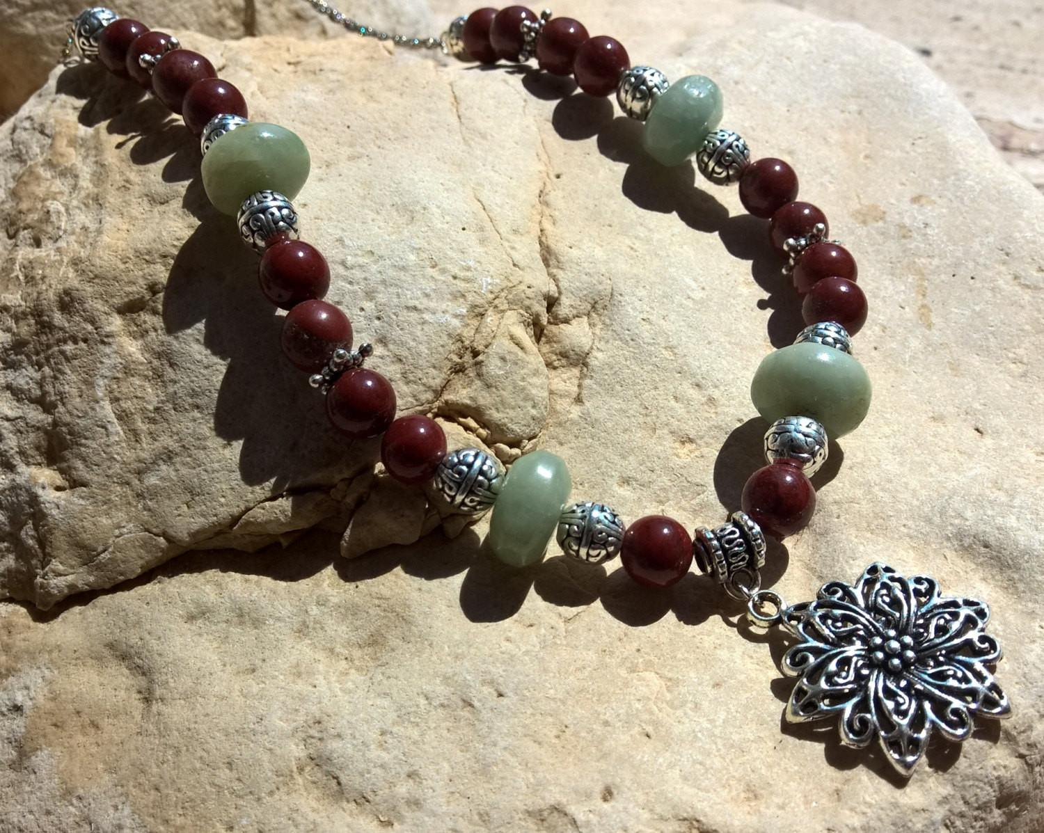 Mala stone necklace, Natural Aquamarine & red Jasper flower necklace, Stone necklace for women