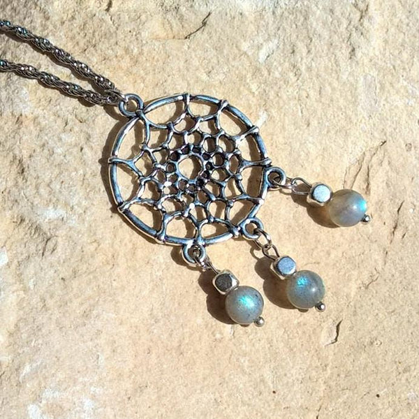 Dreamcatcher stone pendant necklace, Natural Rainbow Moonstone necklace woman | Healing stone Handmade Jewelry by AnuanA Craft