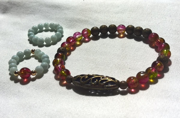 Boho SET stone bracelet ring natural Tourmaline & Amazonite healing jewelry | Healing stone Handmade Jewelry by AnuanA Craft