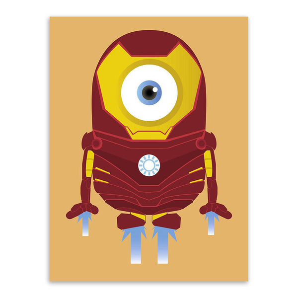 Minions Print poster Superheros Funny Art Pop kids play room decor canvas
