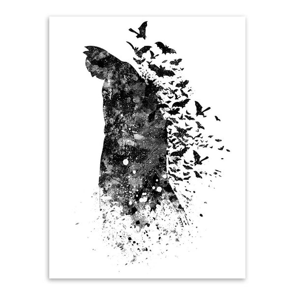 Room wall picture Black White Superhero comics print poster Canvas Wall decor