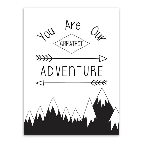 Wall Art Print Black White Typography Adventure love Quote poster Canvas decor