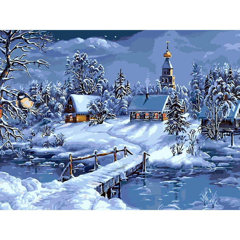 Full paint craft KIT Snow Landscape picture coloring by numbers unique gift idea | Healing stone Handmade Jewelry by AnuanA Craft