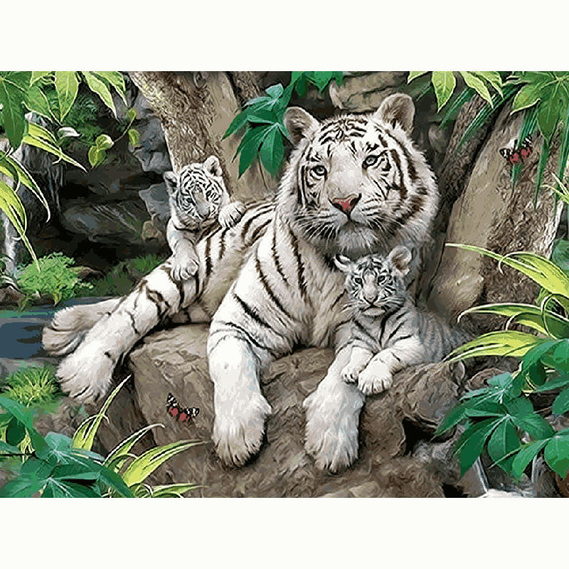 Hand Paint kit DIY white Tiger picture craft Acrylic Canvas Brushes home craft