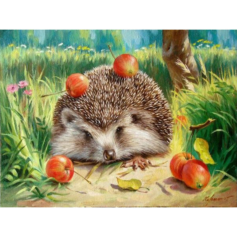 Acrylic Canvas Painting KIT Hedgehog picture DIY Painting By Number unique gift | Healing stone Handmade Jewelry by AnuanA