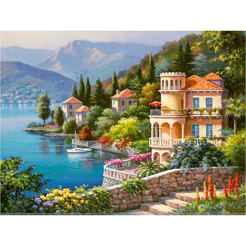 Full Paint kit DIY by numbers Acrylic Canvas Venice Landscape artist craft KIT | Healing stone Handmade Jewelry by AnuanA Craft