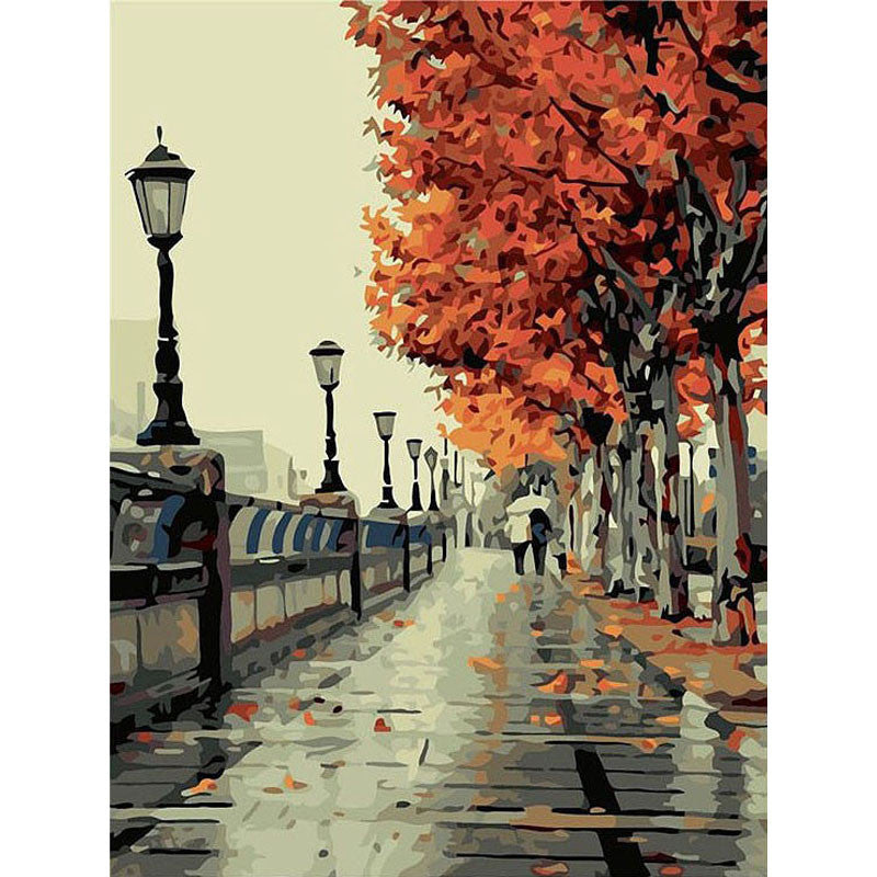 Hand paint craft KIT Autumn walk DIY Painting By Numbers on canvas artwork gift