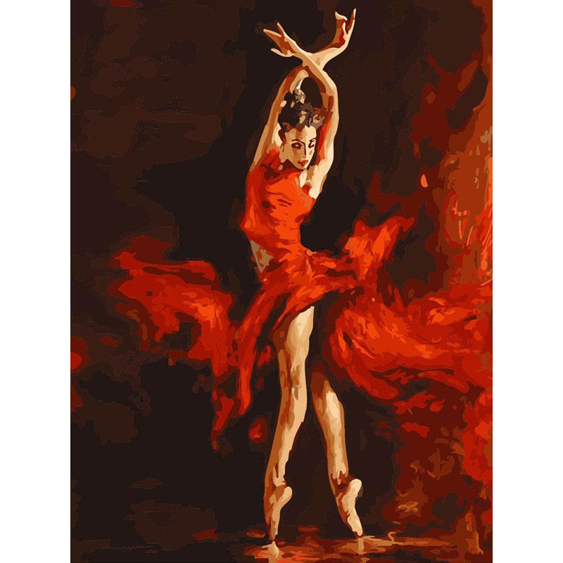 Full painting KIT Red Ballet Dancer picture DIY Coloring By Numbers artwork gift | Healing stone Handmade Jewelry by AnuanA Craft