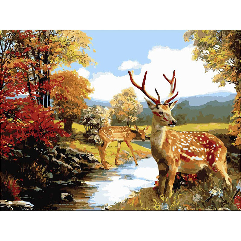 Full paint craft KIT Deers picture coloring by numbers DIY artist gift idea | Healing stone Handmade Jewelry by AnuanA Craft
