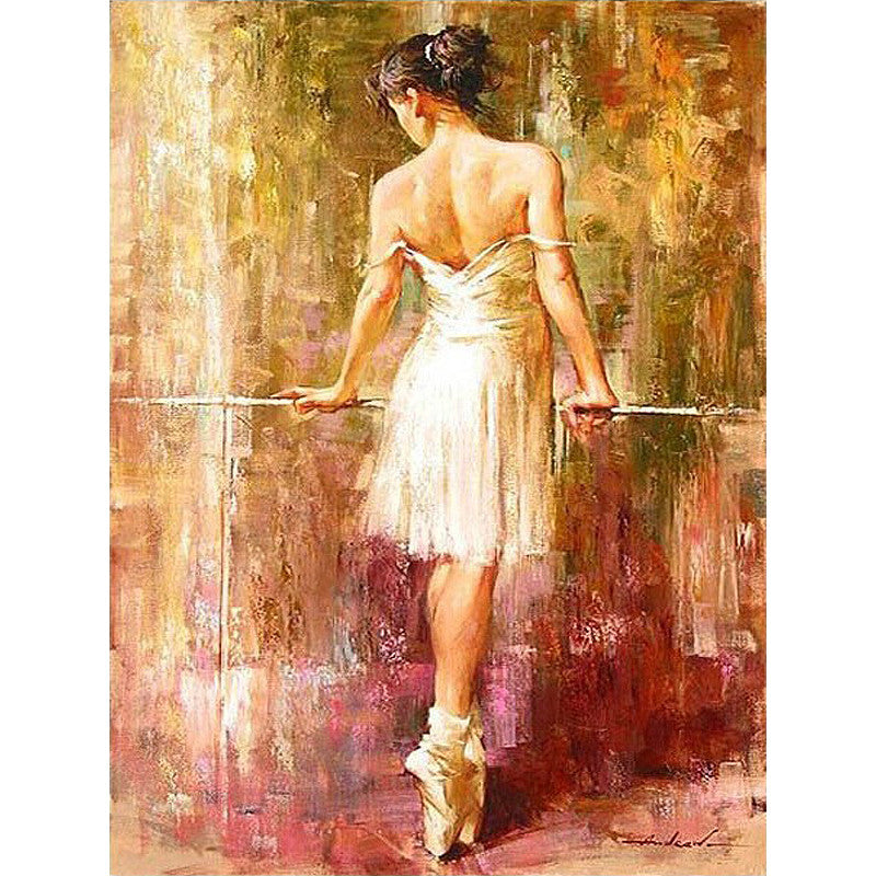 Paint KIT craft ballet dancer picture DIY painting by numbers Acrylic+Canvas