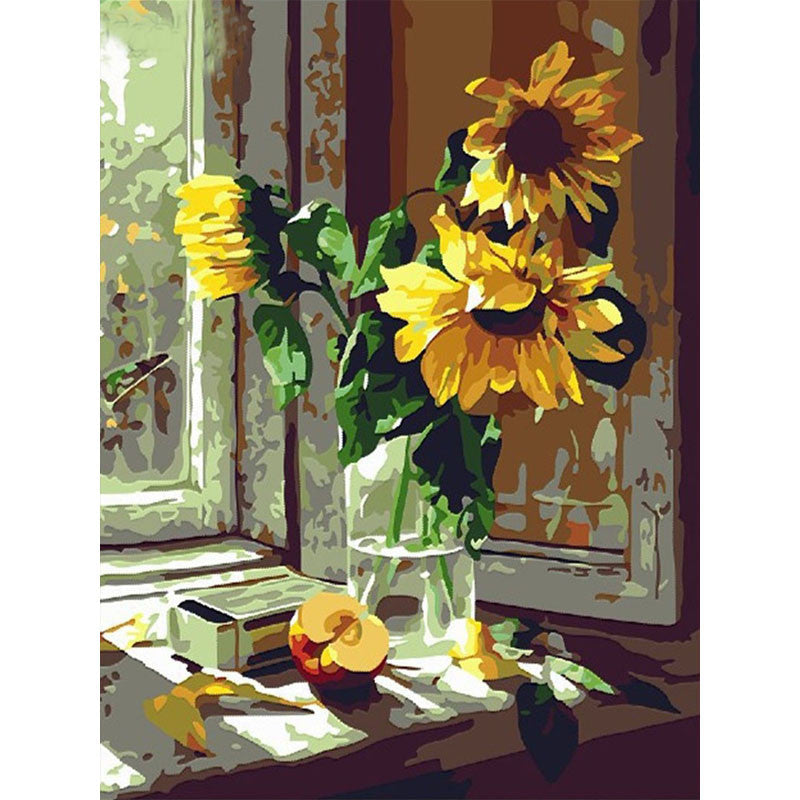 Sunfowers picture DIY Paint On Canvas craft KIT Painting By Numbers unique gift