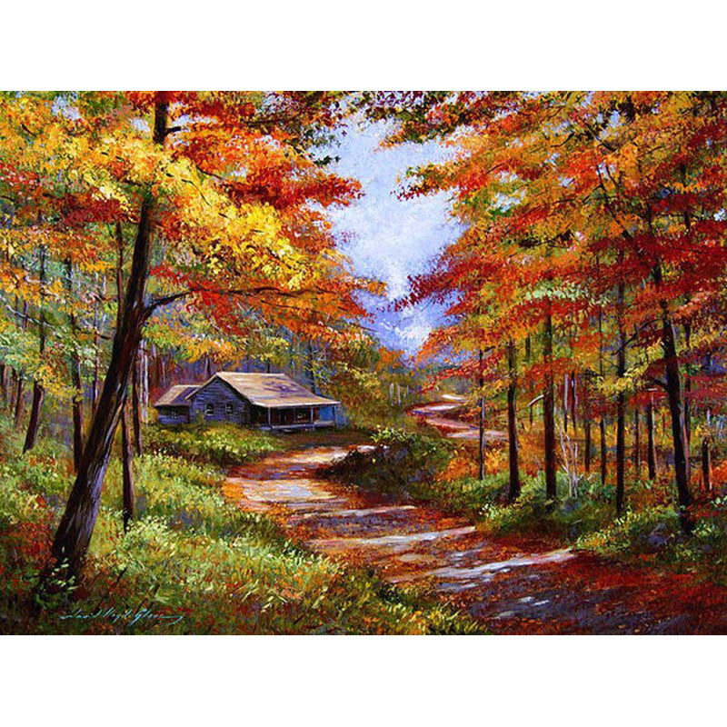 FULL Acrylic Canvas paint kit Autumn Landscape DIY Painting By Numbers artwork | Healing stone Handmade Jewelry by AnuanA Craft