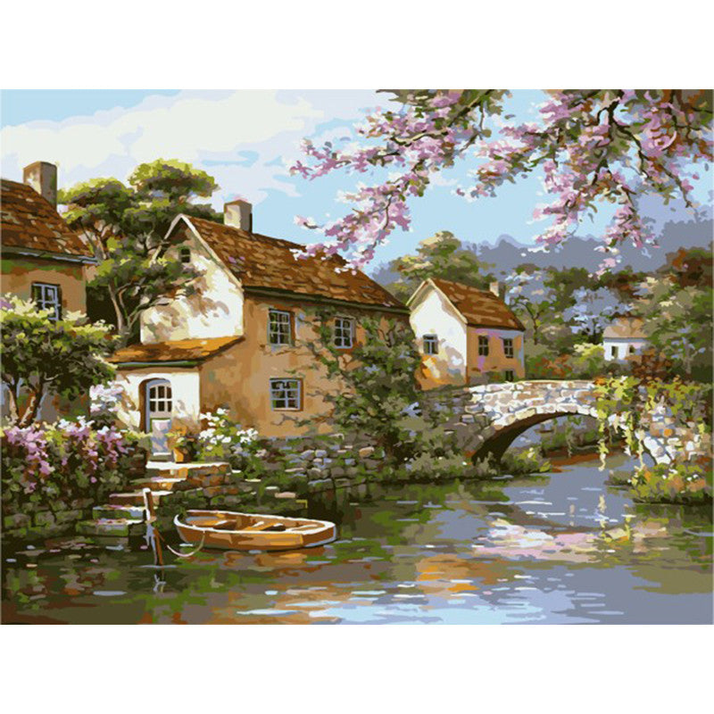 Painting By Numbers Picture river life FULL paint kit craft gift acrylic+canvas