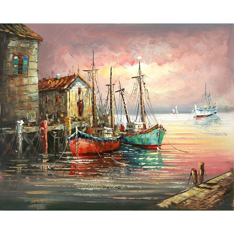 Sunset Painting By Numbers Canvas craft acrylic picture Full coloring kit DIY