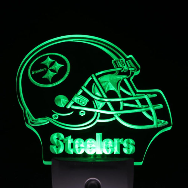 Football LED night light Pittsburgh Steelers Helmet mens bedroom wall decor | Healing stone Handmade Jewelry by AnuanA Craft