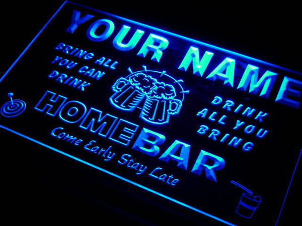 Custom Home Bar sign Personalized name Beer LED light sign