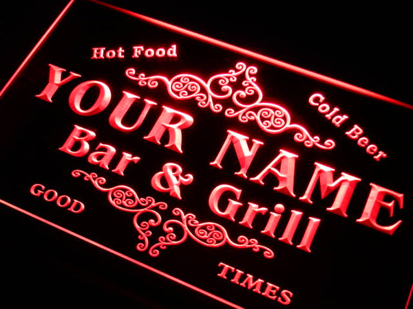 Personalized Bar & Grill sign family custom name led lighted sign