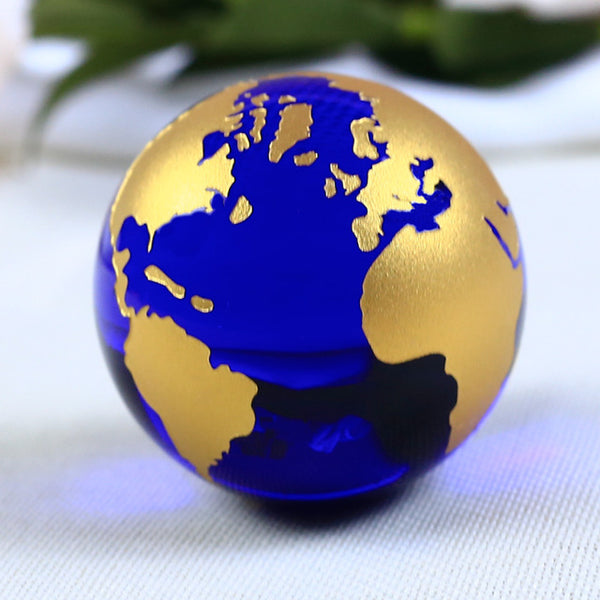 3D Earth Crystal Ball blue gold globe Sphere Ornament home office table decor | Healing stone Handmade Jewelry by AnuanA Craft