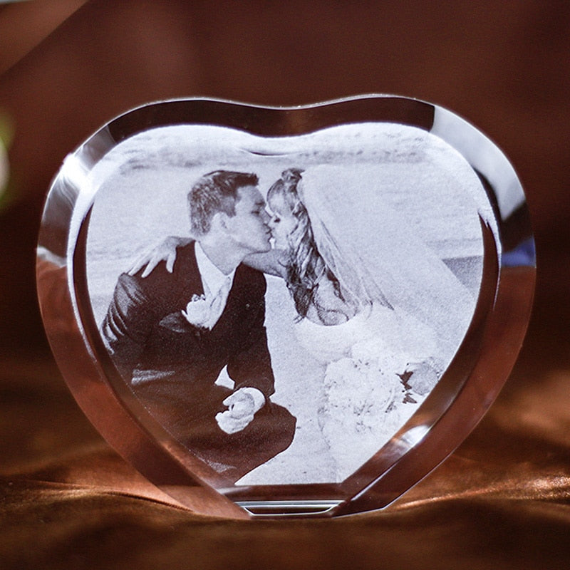 Personalized Heart photo engraved Crystal glass love Wedding anniversary gift