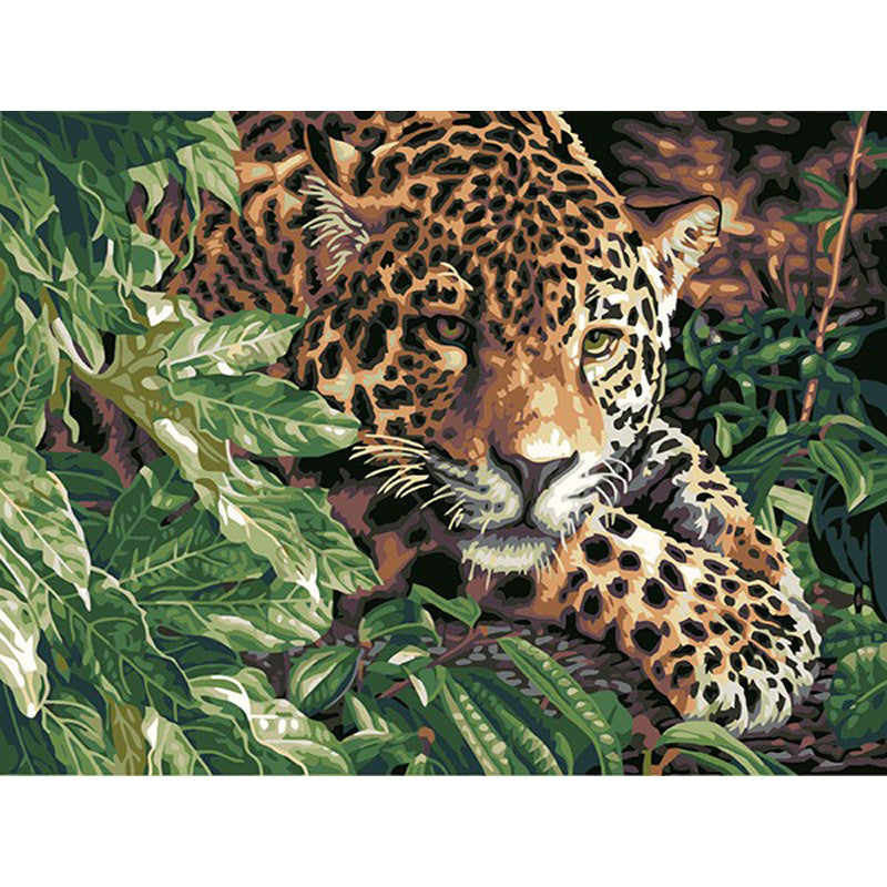 Full acrylic painting on canvas KIT Wild Leopard Picture artwork painting DIY | Healing stone Handmade Jewelry by AnuanA Craft