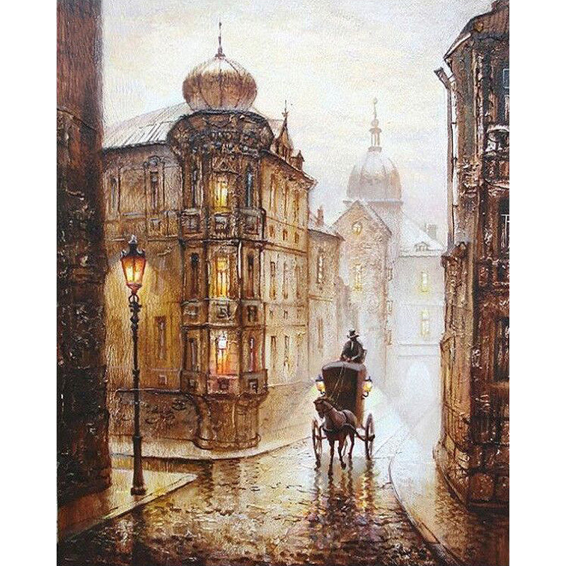 Vintage Europe Street DIY Painting By Numbers Kits craft Acrylic Paint On Canvas | Healing stone Handmade Jewelry by AnuanA Craft