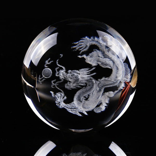 3D Dragon Crystal ball Sphere men gift home office decor figurine | Healing stone Handmade Jewelry by AnuanA Craft