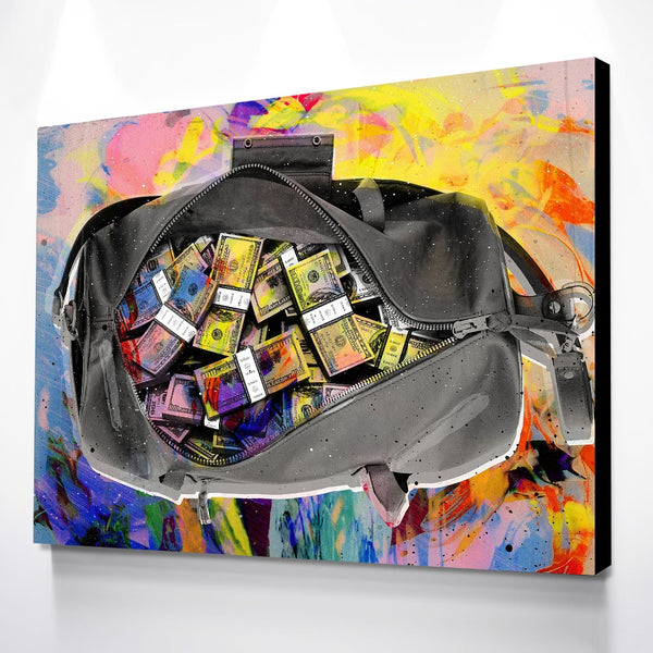 Dollars Money Bag canvas poster Modern colorful Wall Art picture | Healing stone Handmade Jewelry by AnuanA Craft