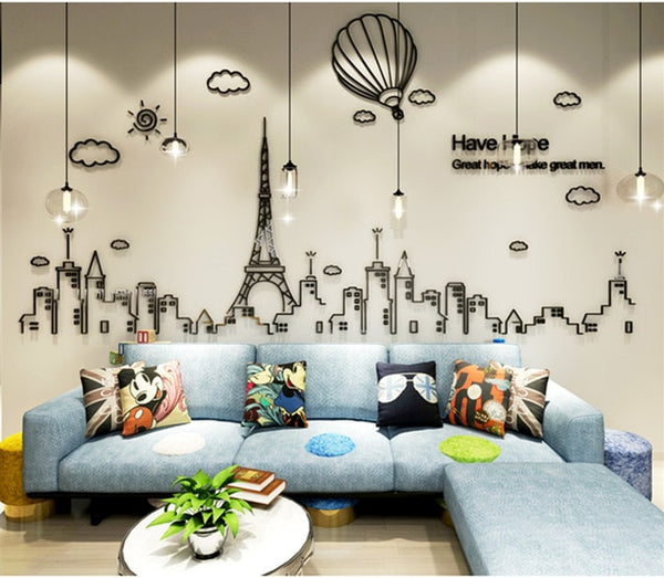 Cityscape Acrylic 3D decal 3D urban art Wall decor DIY Eiffel tower skyline | Healing stone Handmade Jewelry by AnuanA Craft