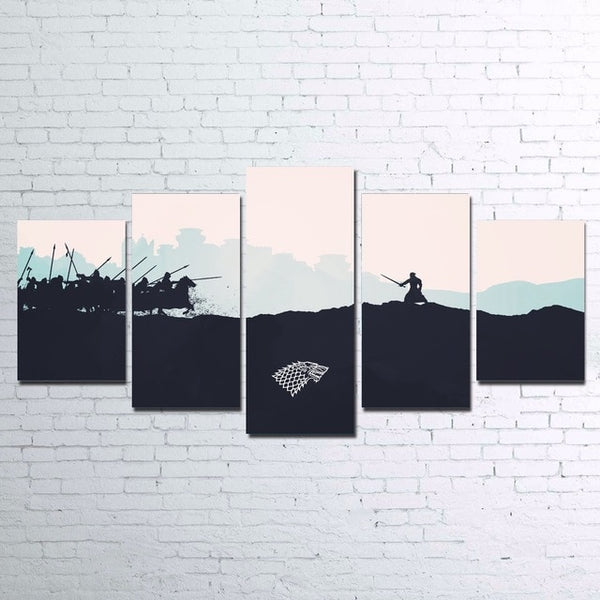 Game of Thrones wall Canvas picture 5 pieces dragons poster Print | Healing stone Handmade Jewelry by AnuanA Craft