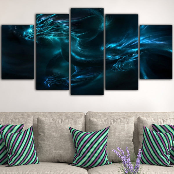 Blue dragon picture 5pcs Dragon Ball Canvas poster wall art | Healing stone Handmade Jewelry by AnuanA Craft