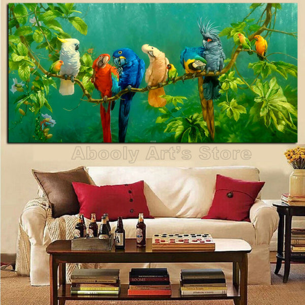 Parrots canvas picture green Landscape poster living room big wall decor