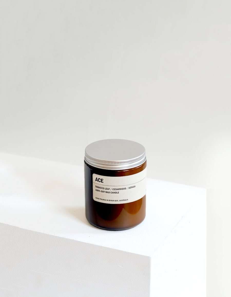 ACE: Tobacco Leaf / Cedarwood / Vetiver Small 250g Amber Candle
