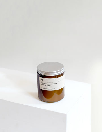 AGI: Blackcurrant / Citrus / Leather Small Amber Candle 250g