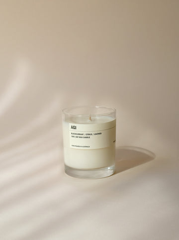 AGI: BLACKCURRANT / CITRUS / LEATHER CLEAR CANDLE