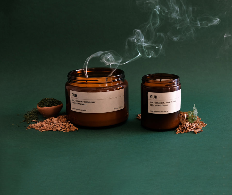 OUD: Oud Wood / Geranium / Parsley Seed Large Amber Candle