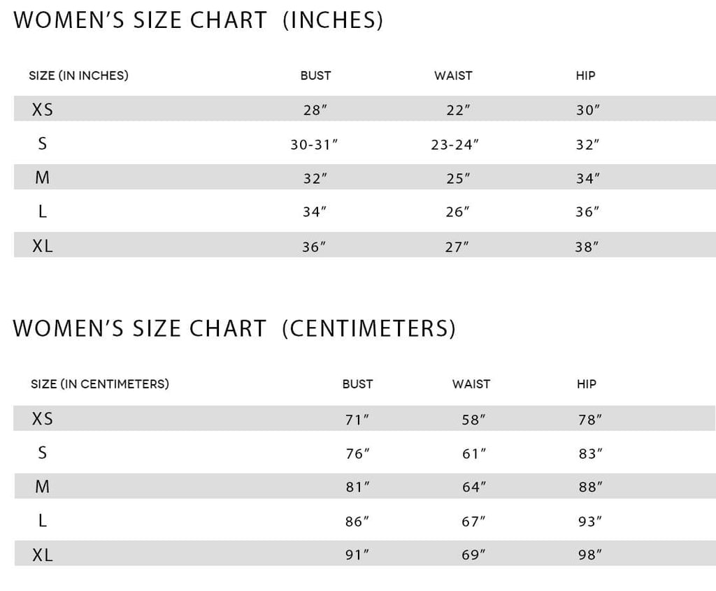World Swimsuit Size Chart