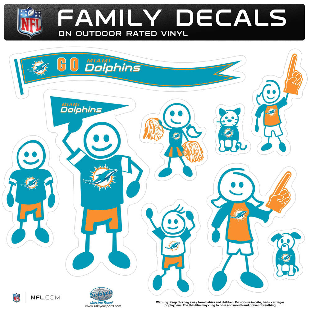 Miami Dolphins Family Decal Set Large