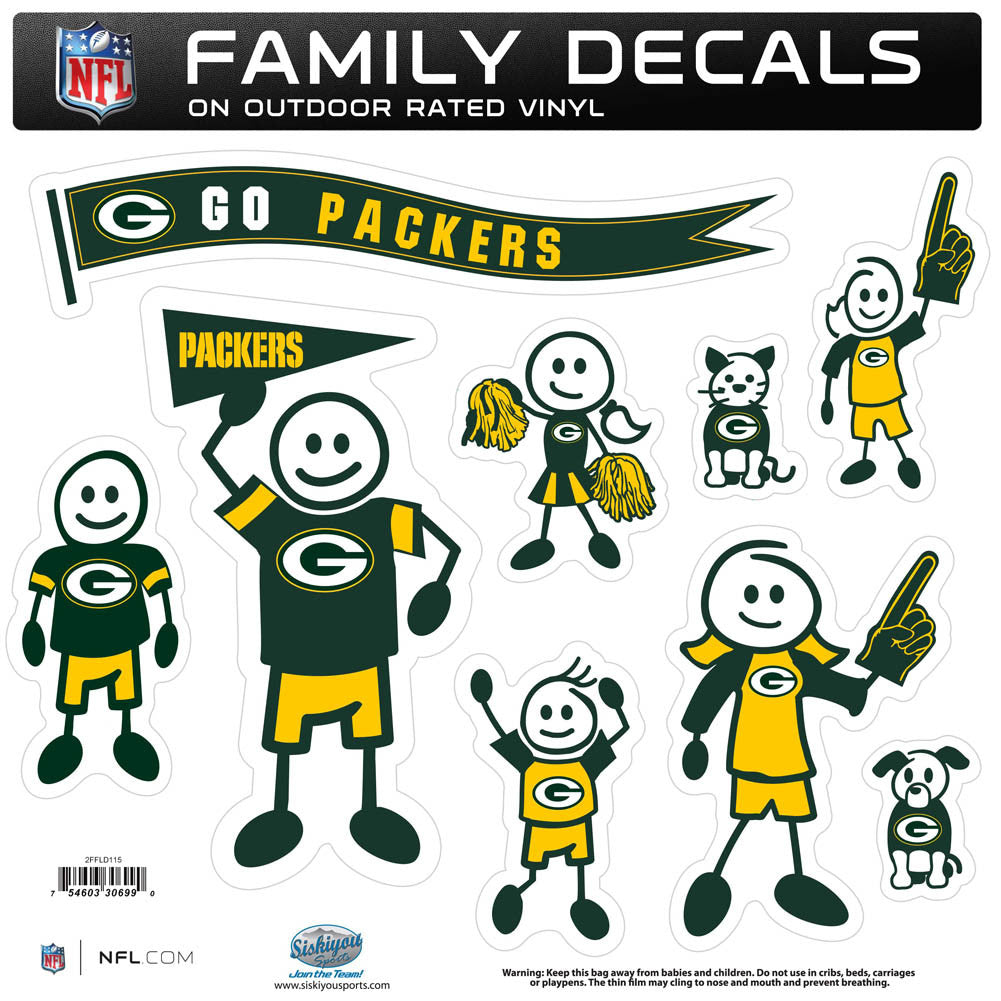 Green Bay Packers Family Decal Set Large