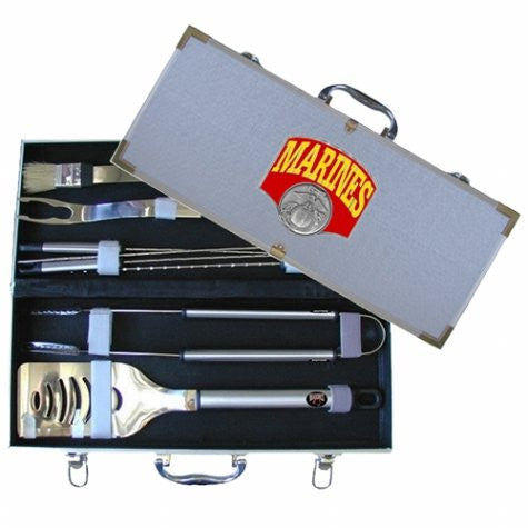 Marines 8 pc Stainless Steel BBQ Set w/Metal Case