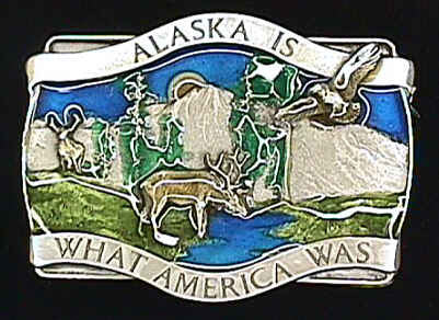 Alaska Is What America Enameled Belt Buckle