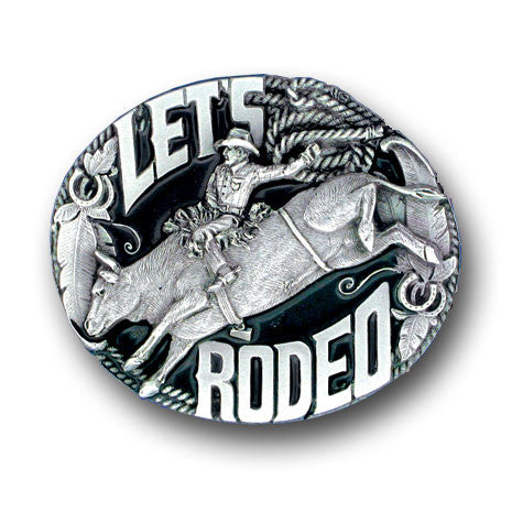 Belt Buckle -Let's Rodeo Enameled Belt Buckle