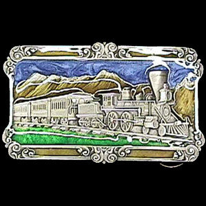 Steam Locomotive  Enameled Belt Buckle