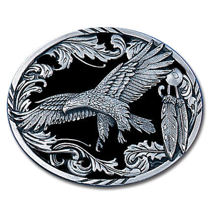 Scroll Eagle (Diamond Cut) Enameled Belt Buckle