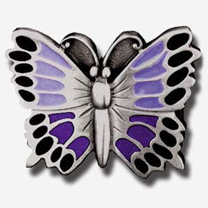 Purple Butterfly Enameled Belt Buckle