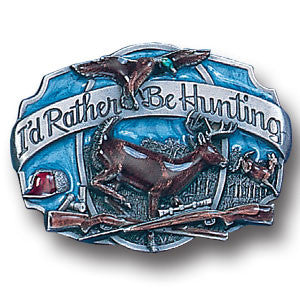 I'd Rather Be Hunting Enameled Belt Buckle