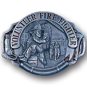 Volunteer Fire Fighter Enameled Belt Buckle