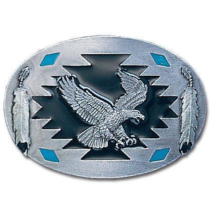 Flying Eagle with Feathers  Enameled Belt Buckle