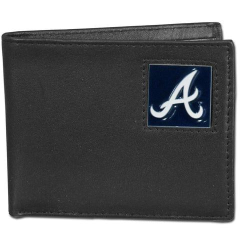Atlanta Braves Leather Bi-fold Wallet Packaged in Gift Box