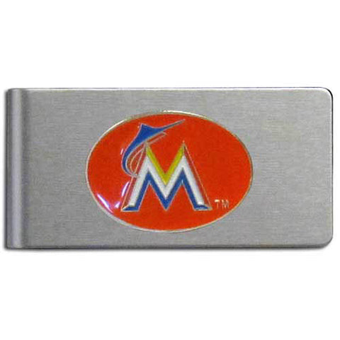 Miami Marlins Brushed Metal Money Clip
