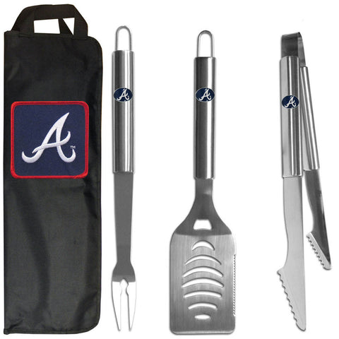 Atlanta Braves 3 pc Stainless Steel BBQ Set with Bag